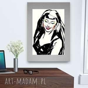 Nowoczesny plakat, plakat z dziewczyną, pop art grafika, do
