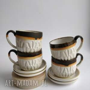 zestaw składający się z 4 filiżanek ze spodkami, ceramika, filiżanka do herbaty