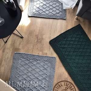 komplet 2 dywaniki ręcznie dziergane z grubego sznurka diamond 65x75cm i 65x45cm