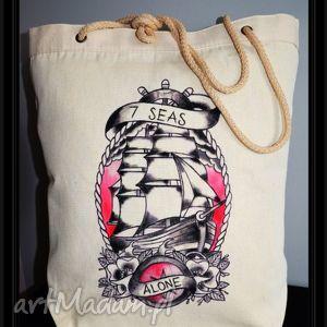 płócienna tatuowana torba z recznie malowanym wzorem, eko, hipster, tatuaż, blogerki