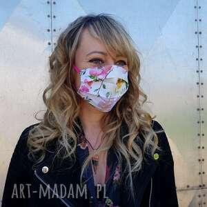 Kwiat jabłoni maska ochronna maseczka bawełna na gumeczkach