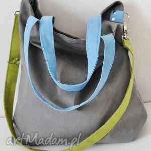 na ramię torba hobo xxl - szarość, limonka, błękit, hobo, alcantara, torebki