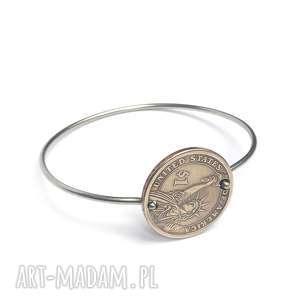 langner design bransoletka ze stali szlachetnej i monety 1, na szczęście, dolar