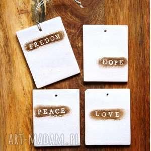 4 x zawieszki ceramiczne, zawieszka, ceramiczna, love, napis, litera