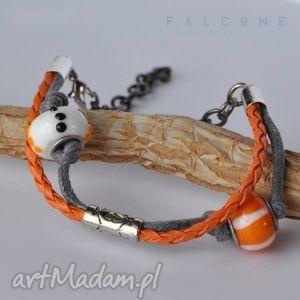 orange, bransoletka, energetyczna, rzemyk, podwójna, łańcuch, lekka, święta prezenty