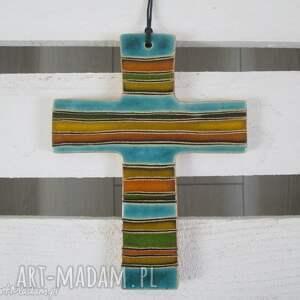 ceramika ana kolorowy krzyżyk ceramiczny, ceramika, krzyż