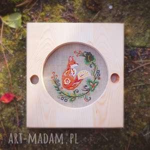 dekoracje obrazek haftowany w ramie z drewna, obraz, obrazek, drewno, las, lis