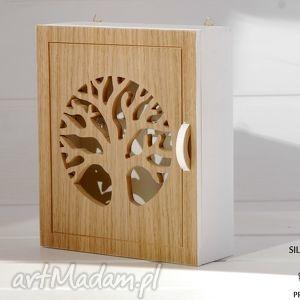 ręcznie robione dekoracje szafka na klucze natural tree - drzewo, biała