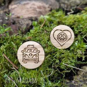 drewniane spinki do mankietów hippie kamper, hippie, volkswagen, ogórek