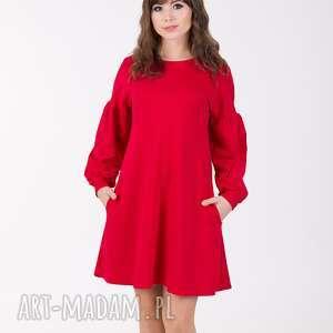 sukienki lala sukienka trapezowa z bufiastym rękawem, czerwona