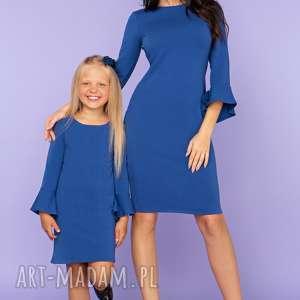 KOMPLET DLA MAMY I CÓRKI, sukienka z falbanką przy rękawie, model 26, chabrowy