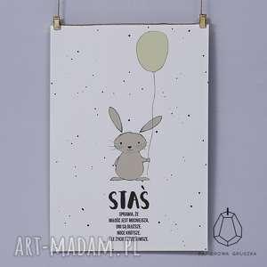 plakat krÓlik z pistacjowym balonikiem - plakat, obrazek, krolik, balonik, dziecka