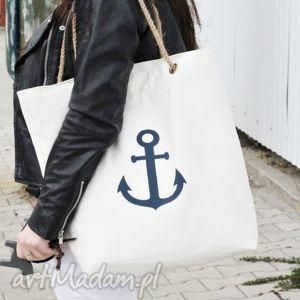 na ramię torba z kotwicą bez podszewki, torba, torebka, damska, plażowa, zakupy