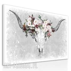 obraz na płótnie - 120x80cm jeleń poroże kwiaty 02214 wysyłka w 24h