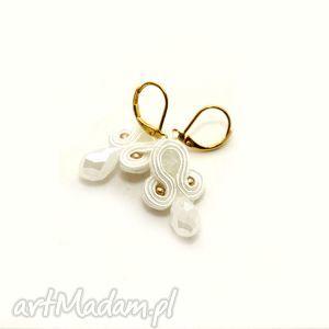 małe kolczyki sutasz, soutache, sznurek, ślub, slubne, eleganckie, wesele