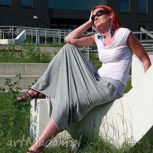 Spódnica dresowa maxi bawełna szara lub grafit spódnice szary