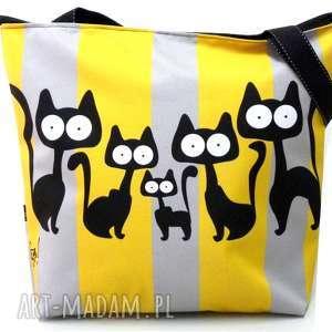 hand-made na ramię torba zamek z motywem kotów