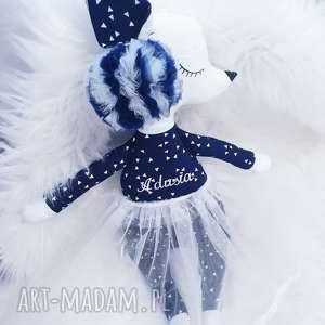 Króliczka w granacie i bieli z imieniem , króliczka, zabawka, przytulanka, laleczka