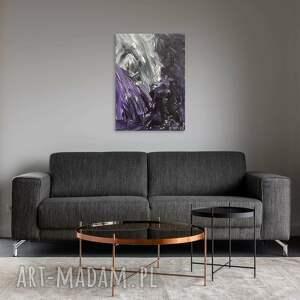 obraz z widocznąstrukturą - biało czarny elementami fioletu 70x50 cm