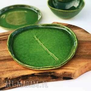 ceramika talerzyk dekoracyjny - mała patera liść, ceramika, talerz