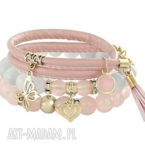powder pink grey , rzemień, motyl, jadeit biżuteria