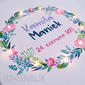 ślub świecący obraz kwiatowy wianek prezent na ślub, rocznicę lub urodziny