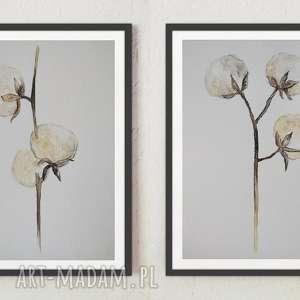 bawełna-dwie akwarele formatu 18/24 cm, akwarele, bawełna, papier