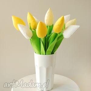 Żółte tulipany, bawełniany bukiet dom jobuko kwiaty, kwiatki