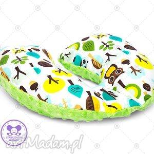 dla dziecka poduszka podróżna minky rogal zagłówek do fotelika rogalik - zielony las