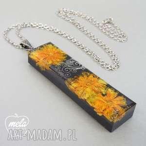 0424/~mela wisiorek z żywicy prostokąt kwiaty, naszyjnik, żywica, epoksyd
