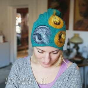 czapka wełniana damska turkus z kwiatem, wełna, etno, czapka, kwiaty, zima, walenty