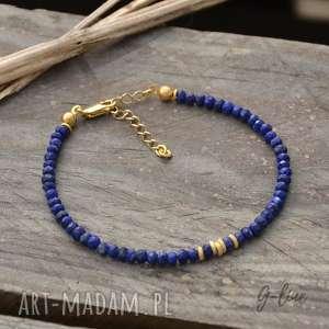 srebrna pozłacana bransoletka z lapis lazuli, srebro, pozłacane, lazuli