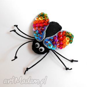 muszka - broszka z filcu, mucha, cekiny, błyszcząca, broszka, owad, biżuteria