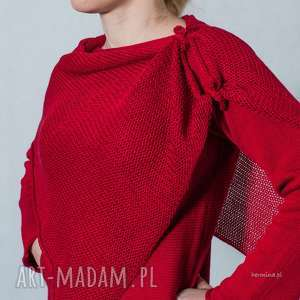 Czerwony sweter z szalem, sweter, sweter-z-szalem, szal, ponczo, bawełna