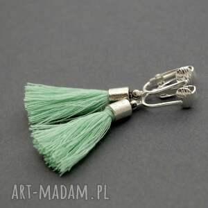 klipsy z chwostami, sznurek, eleganckie, wiszące, małe, miętowe, chwost