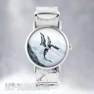 zegarek - czarny smok marmurkowy, nato, zegarek, bransoletka, smok, nato