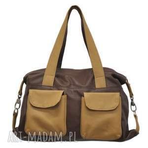 na ramię 09-0014 brązowa torba sportowa / torebka fitness tit, torebki damskie