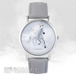 hand-made zegarki zegarek - biały koń biegnący szary, skórzany