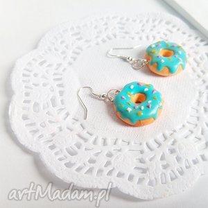 Kolczyki - donut z polewą i posypką - ,donut,donuty,pączki,kolczyki,biżuteria,