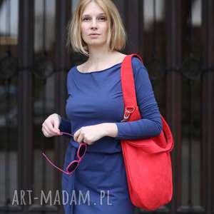 czerwona torebka na ramię worek hobo, czerwony worek, torba workowata