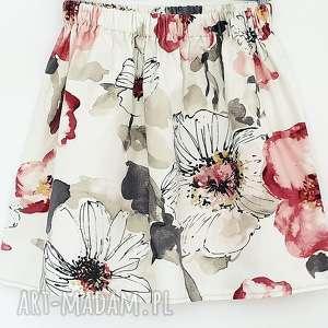 Spódnica w duże kwiaty spódnice du nord kwiaty, z kieszeniami