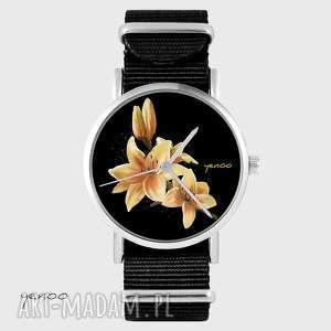 Prezent Zegarek, bransoletka - Żółta lilia czarny, nato, zegarek,