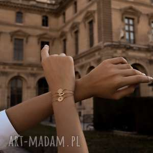 bransoletka z różowego złota medalionem, różowa, moneta, medalion, zawieszka