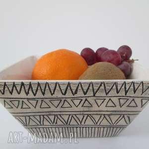 etniczna miseczka, miska, ceramiczna, etno, dekoracyjna, wzorzysta, wyjątkowy