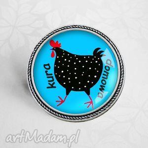 kura domowa śmieszna broszka - kura, śmieszny, prezent, pin, napis, napisem