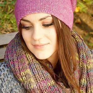 Jesienna fuksja, czapka, wełna, jesienna, merino, bawełna, dziergana