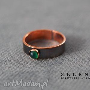 pierścionek z zielonym agatem, wire, wrapping, agat, miedź, pierścionki