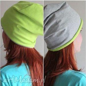 czapka dwustronna dwukolorowa dresowa beanie, dresowa, dwukolorowa, limonkowa, beanie