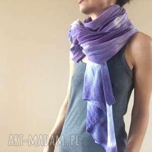 hand made szaliki wełniany szal w fioletach