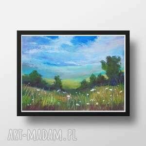 łąka ii-praca wykonana pastelami, łąka, papier, pastele